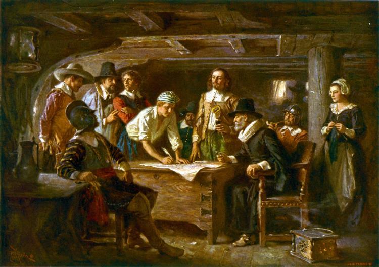 The Mayflower Compact, 1620 - Jean Leon Gerome Ferris