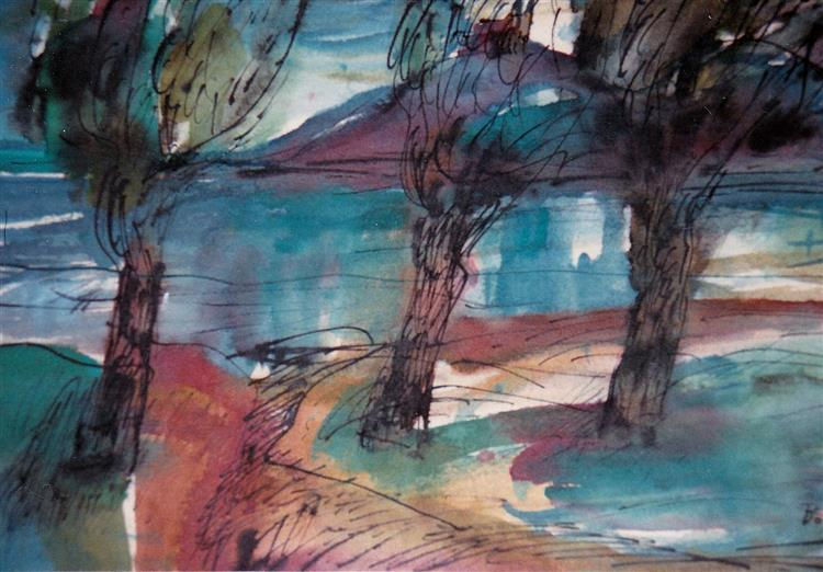 Autumn coming down on Szigliget, 1980 - Maria Bozoky