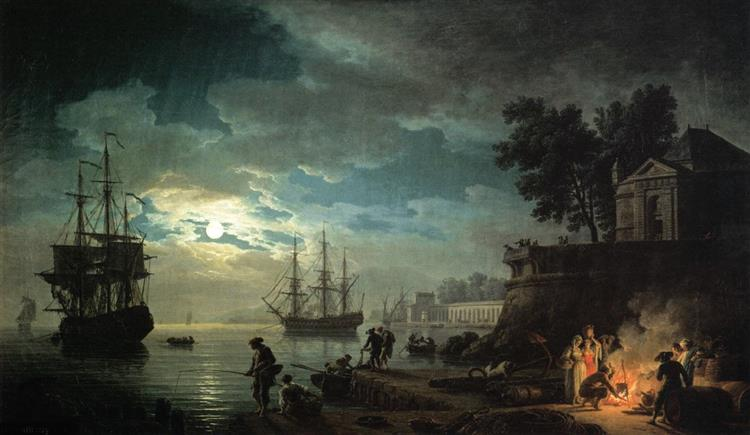 Night A Port in the Moonlight, 1748 - Claude-Joseph Vernet