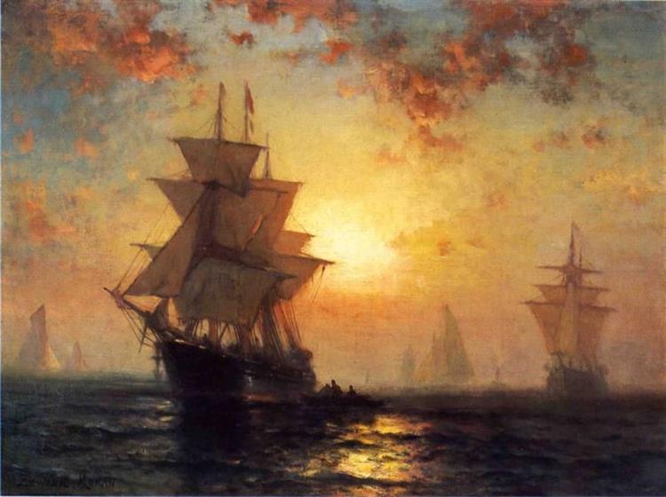 Ships at Night - Edward Moran