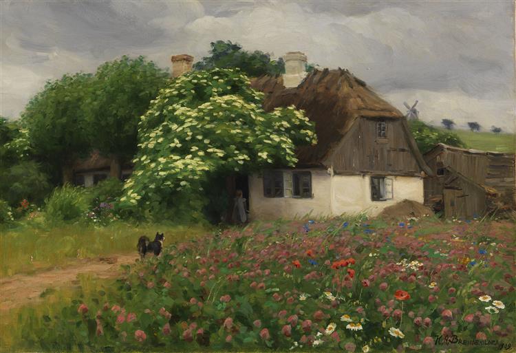 Bondehus med eng blomster, 1909 - Hans Andersen Brendekilde