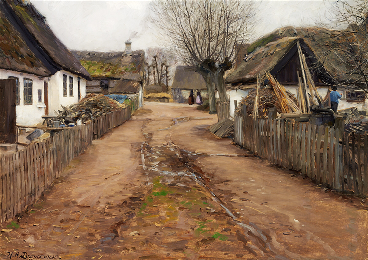 Village Scene in the Early Spring., 1910 - Hans Andersen Brendekilde