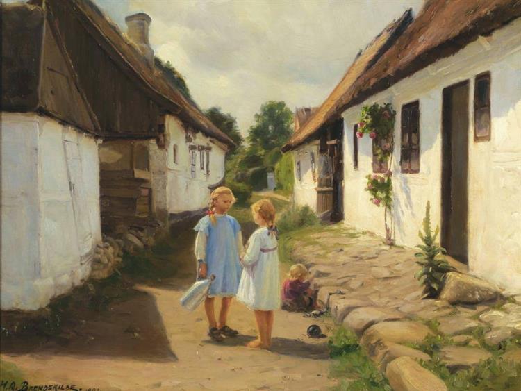 To børn i en landsby gade, 1921 - Hans Andersen Brendekilde