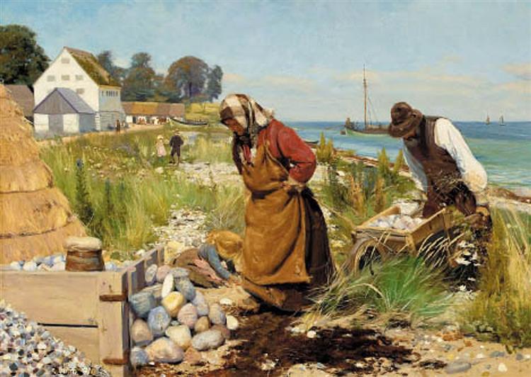 Skærvehuggere Ved Stranden. Stevns., 1885 - Hans Andersen Brendekilde