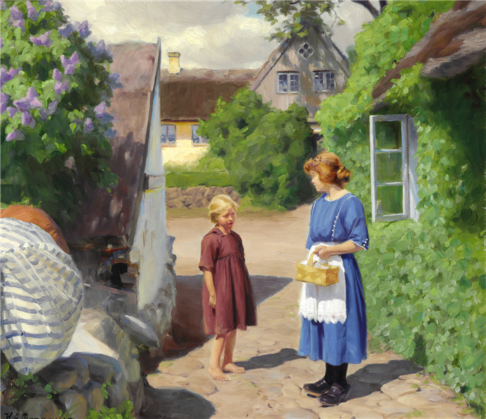 Summer Day in Jyllinge. Lilacs in Bloom and Little Girls in the Village Street, 1922 - Hans Andersen Brendekilde