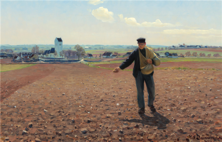 A Sower of the Field on a Sunny Spring Day at Brendekilde Church, 1914 - Hans Andersen Brendekilde