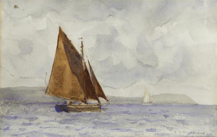 A bawley running up the coast - Henry Scott Tuke