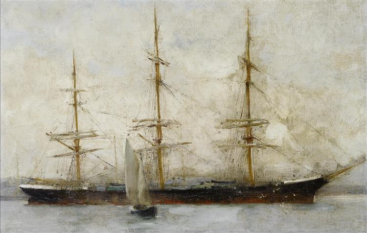 A three-masted ship at anchor - Henry Scott Tuke
