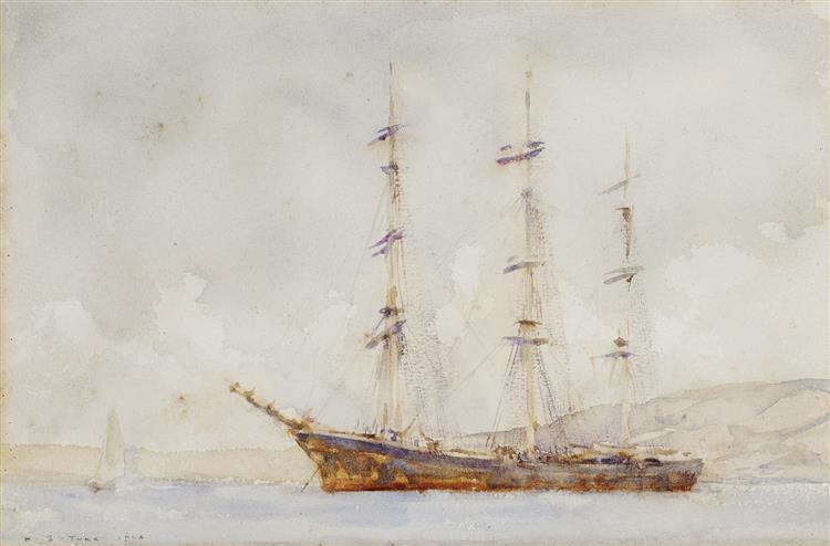 A three-master lying offshore - Henry Scott Tuke