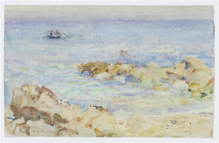 Rowing off the coast - Henry Scott Tuke