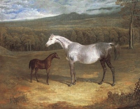 Jack Spigot (1821 St. Leger Winner) as a Foal with His Foster Mother, 1818 - John Frederick Herring Sr.