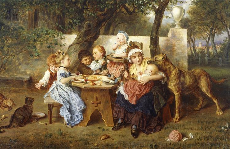 The Birthday Party, c.1868 - Ludwig Knaus
