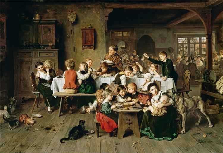 A Children's Party (the Children's Table), c.1868 - Ludwig Knaus