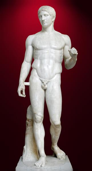 Doryphoros, by Polykleitos (Roman copy), c.450 - c.440 BC - Ancient Greek Painting and Sculpture
