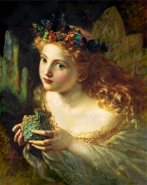 Take the Fair Face of Woman, and Gently Suspending, With Butterflies, Flowers, and Jewels Attending, Thus Your Fairy is Made of Most Beautiful Things, 1869 - Sophie Gengembre Anderson