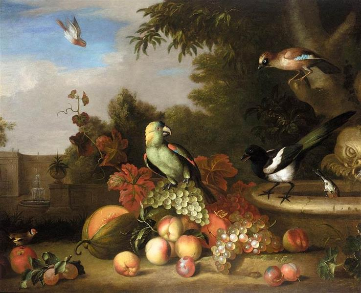 Still-life of Fruit and Birds - Tobias Stranover