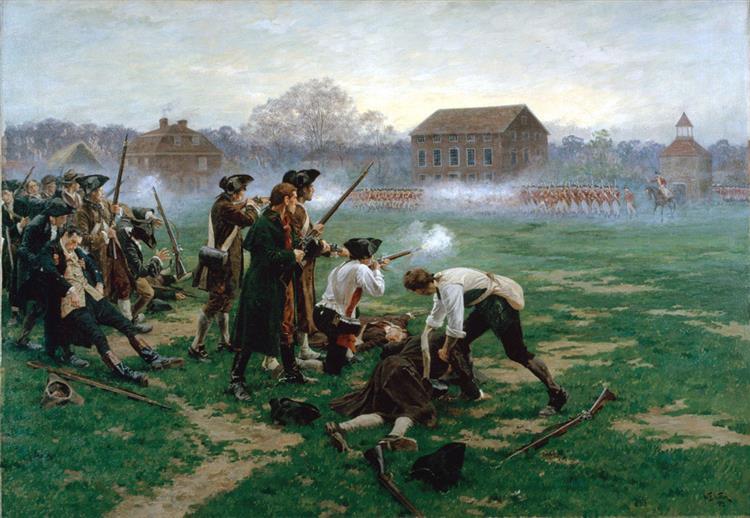The Battle of Lexington, 19 April 1775, 1910 - William Barnes Wollen