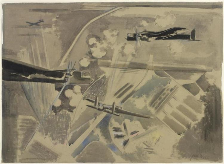 Target Area, Whitley Bombers over Berlin, 1940 - Paul Nash