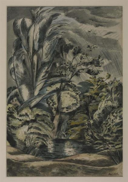 Tench Pond in a Gale, 1921 - 1922 - Paul Nash