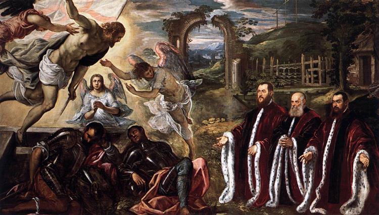 Resurrection and Three Avogadri - Domenico Tintoretto