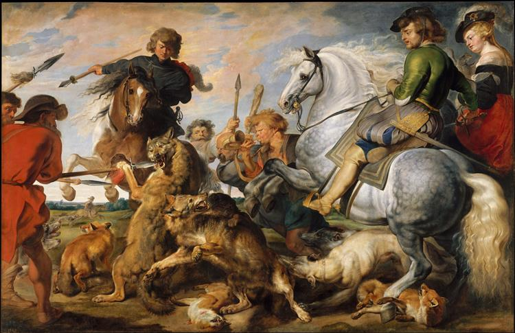 Wolf and Fox Hunt, c.1616 - Peter Paul Rubens