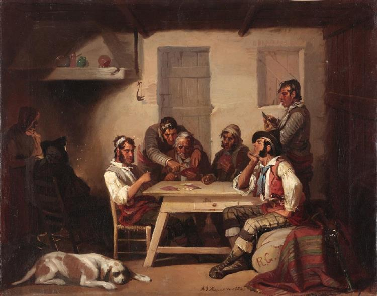 Jugando a las cartas, óleo sobre lienzo - El Hispaleto