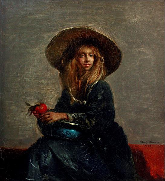 Jennifer in picture hat, c.1986 - Frank Mason