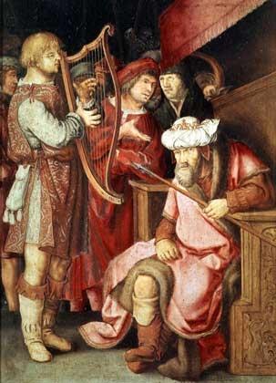 David plays the harp in front of Saul - Lucas van Leyden