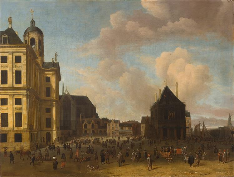 Dam Square in Amsterdam, 1675 - Abraham Storck