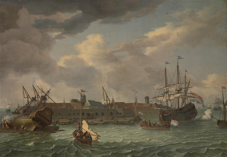 Het Eiland Onrust Bij Batavia-onrust Island near Batavia, 1699 - Abraham Storck