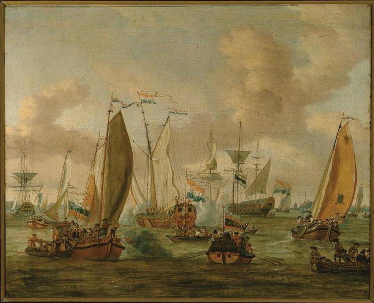 Spiegelgevecht op het IJ te Amsterdam ter ere van het bezoek van Tsaar Peter de Grote op 1 september 1697, 1705 - Abraham Storck