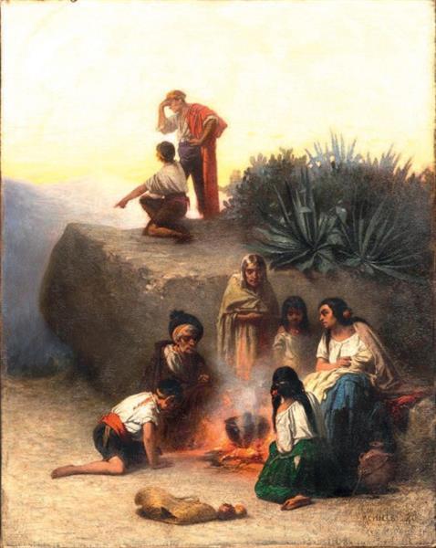 Halte Du Soir Autour Du Feu, 1860 - Achille Zo