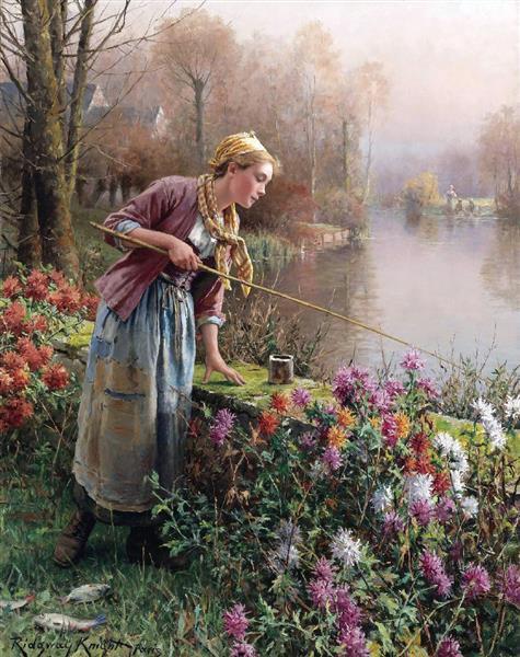 Brittany Girl Fishing - Daniel Ridgway Knight