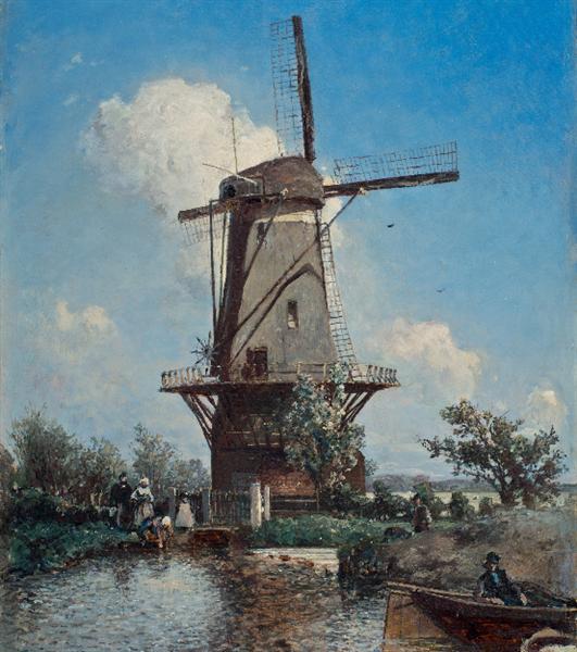 A Windmill near Delft, 1857 - Johan Jongkind