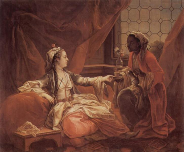 A slave is given a cup of coffee to a sultana, 1747 - Шарль Андре Ван Лоо