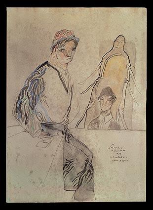 Autorretrato con Kafka y Samsa - José Luis Cuevas