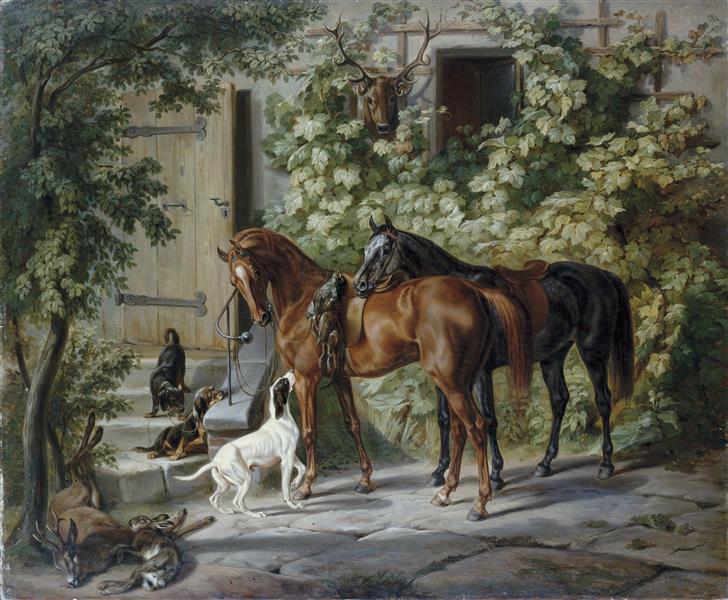 Horses at the Porch, 1843 - Освальд Ахенбах