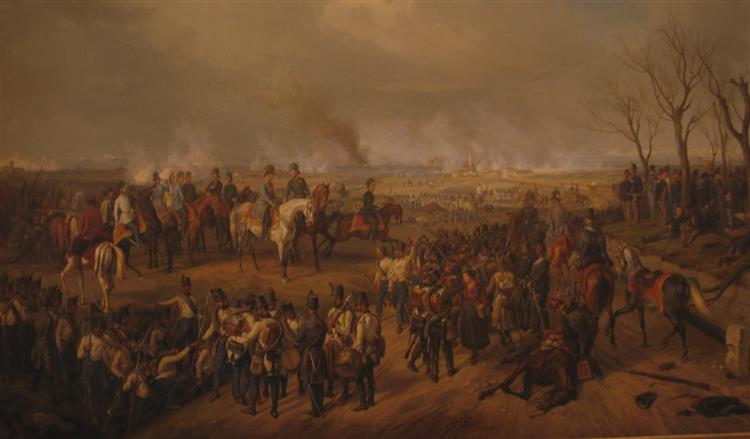 Field Marshal Radetzky and his staff at the Battle of Novara on March 23, 1849, 1855 - Albrecht Adam