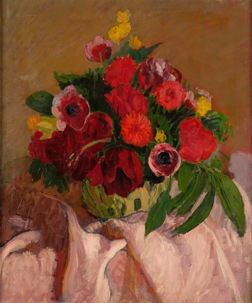 Mixed Flowers on Pink Cloth, c.1916 - Roderic O'Conor