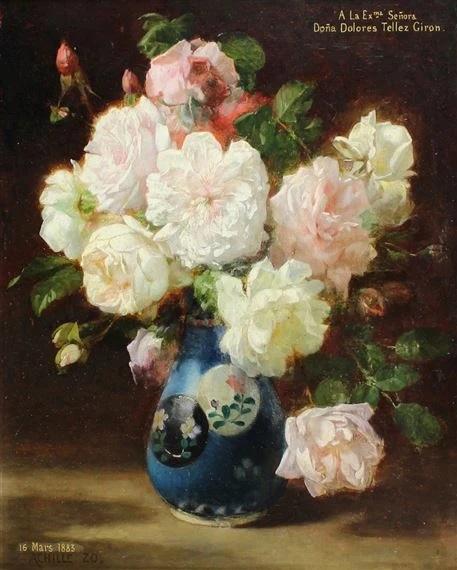 Bouquet of flowers in a blue vase - Achille Zo
