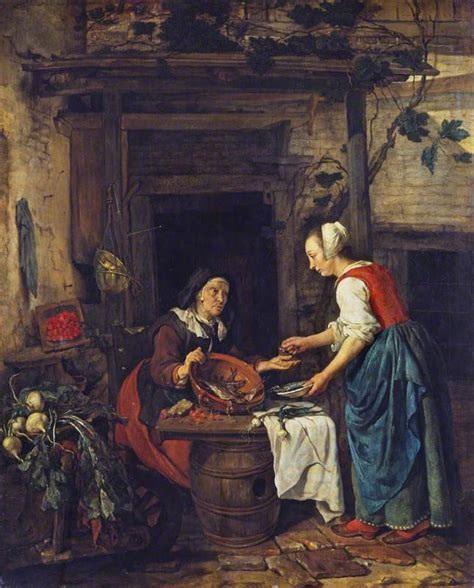 An Old Woman Selling Fish, 1657 - 1662 - Gabriël Metsu