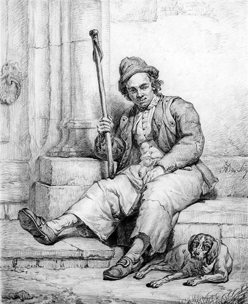 Sitting man with dog - Abraham van Strij