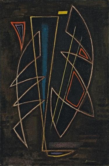 Spitzwinklige Komposition auf Dunklem Grund, 1948 - Adolf Fleischmann