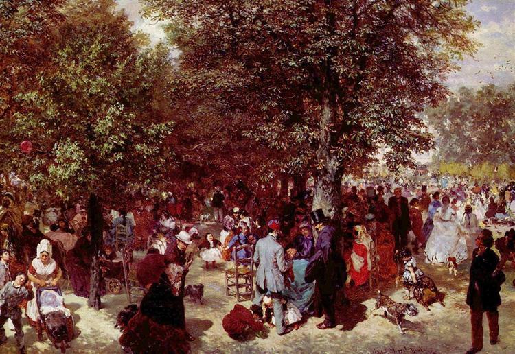 Afternoon in the Tuileries Gardens, 1867 - Adolph von Menzel