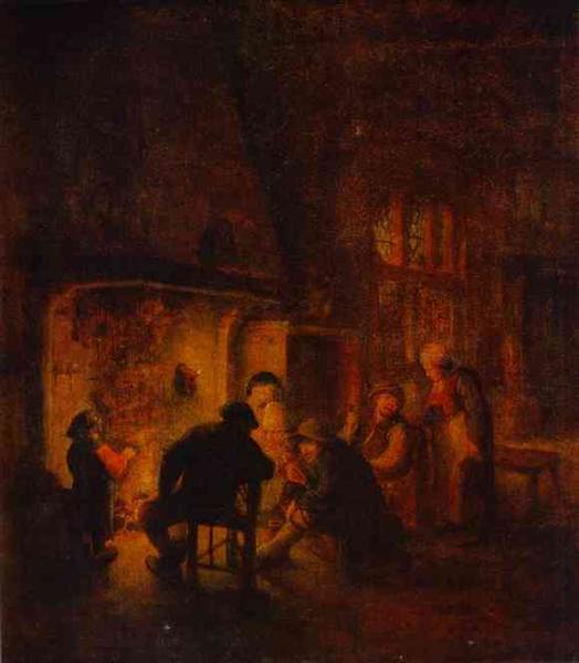 A Talk at Fireplace, c.1640 - Adriaen van Ostade