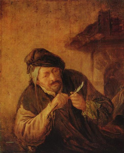 Cutting the Feather, c.1660 - c.1670 - Adriaen van Ostade