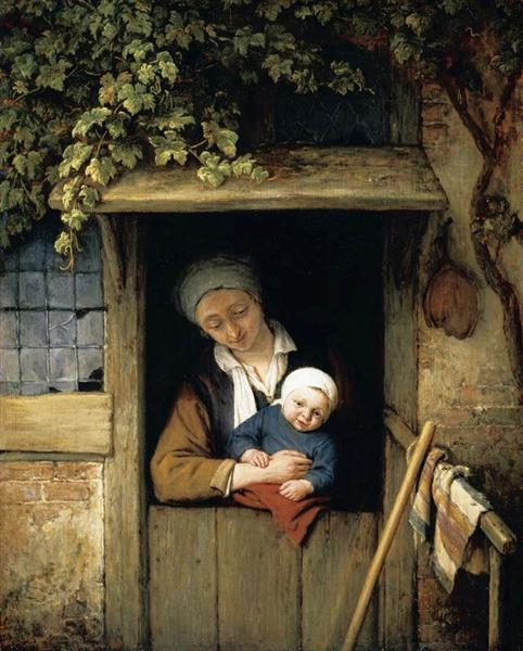 Mother Holding Her Child in a Doorway, 1667 - Адріан ван Остаде