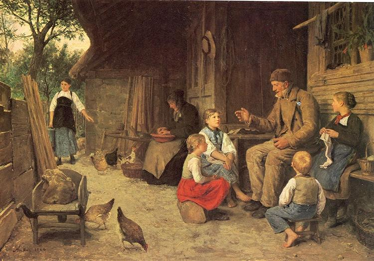 Grandfather Telling a Story - Albert Anker