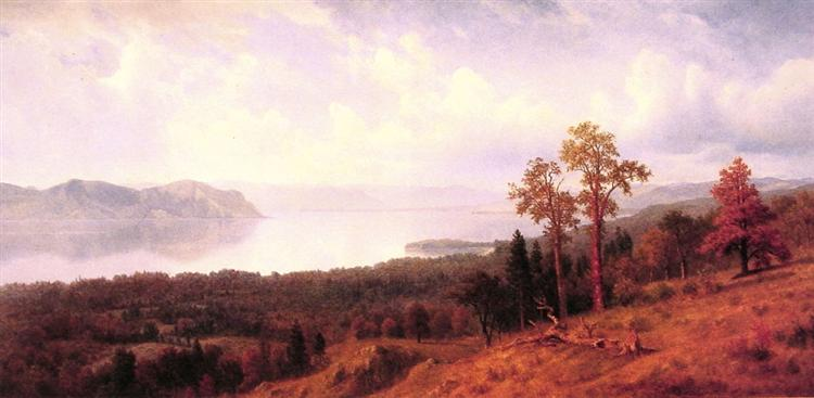 View of the Hudson Looking Across the Tappan Zee Towards Hook Mountain, 1866 - Albert Bierstadt