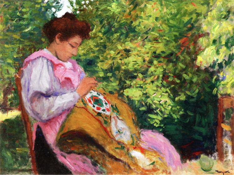 Girl Embroidering, Seated in a Garden - Альбер Марке